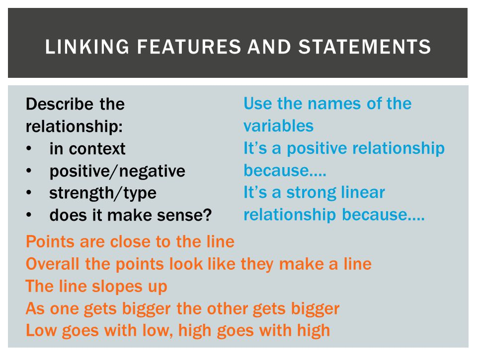 LINKING FEATURES AND STATEMENTS Describe the relationship: in context positive/negative strength/type does it make sense? Use the names of the variabl