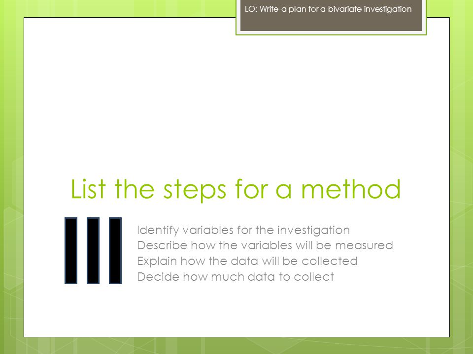 List the steps for a method Identify variables for the investigation Describe how the variables will be measured Explain how the data will be collecte