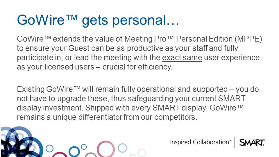 GoWire gets personal… GoWire extends the value of Meeting Pro Personal Edition (MPPE) to ensure your Guest can be as productive as your staff and full
