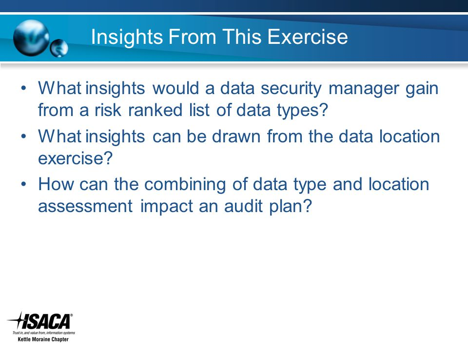 Insights From This Exercise What insights would a data security manager gain from a risk ranked list of data types.