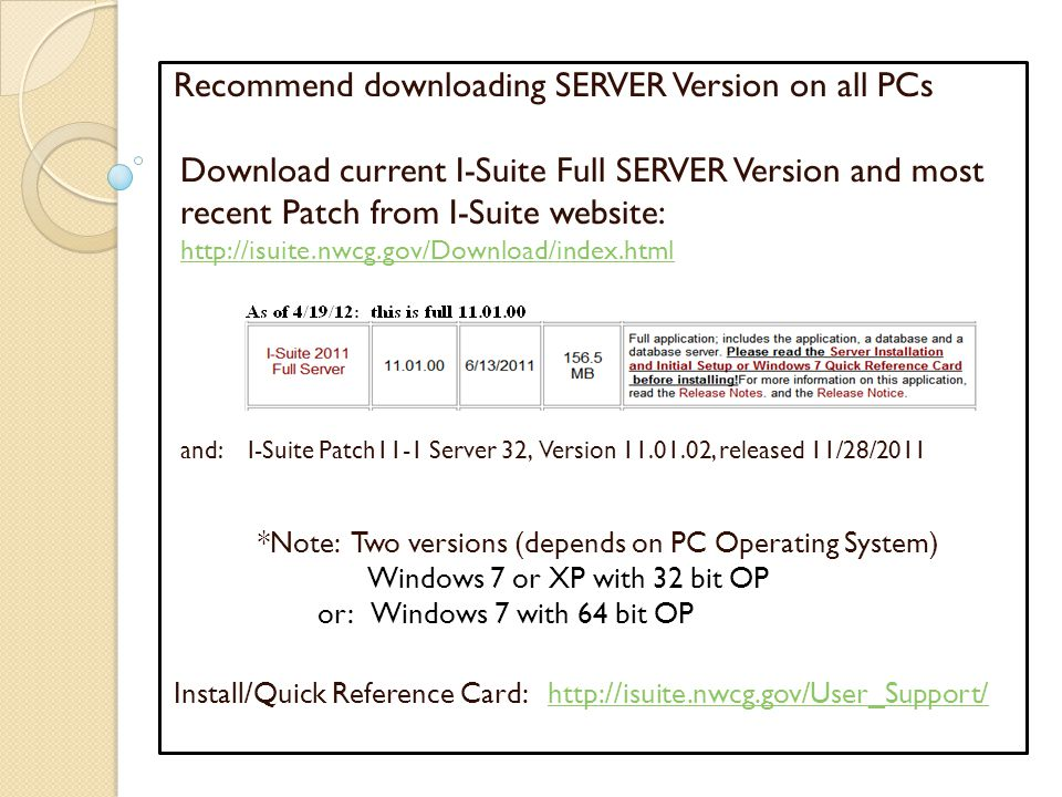 Recommend downloading SERVER Version on all PCs Download current I-Suite Full SERVER Version and most recent Patch from I-Suite website: http://isuite.nwcg.gov/Download/index.html and: I-Suite Patch11-1 Server 32, Version 11.01.02, released 11/28/2011 *Note: Two versions (depends on PC Operating System) Windows 7 or XP with 32 bit OP or: Windows 7 with 64 bit OP Install/Quick Reference Card: http://isuite.nwcg.gov/User_Support/http://isuite.nwcg.gov/User_Support/