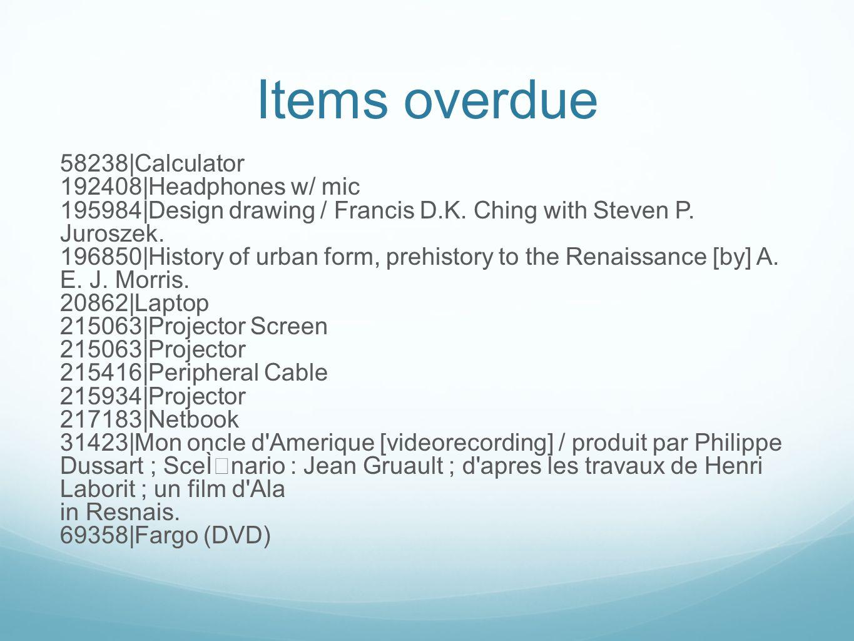 Items overdue 58238|Calculator 192408|Headphones w/ mic 195984|Design drawing / Francis D.K.