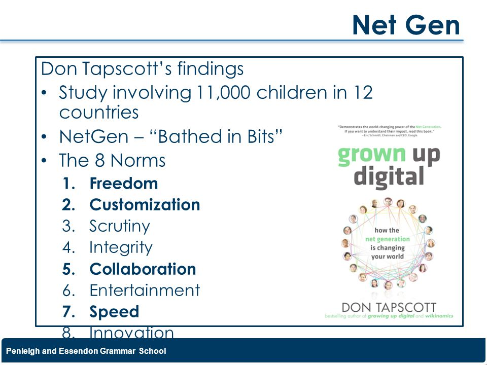 Penleigh and Essendon Grammar School Don Tapscotts findings Study involving 11,000 children in 12 countries NetGen – Bathed in Bits The 8 Norms 1.Free