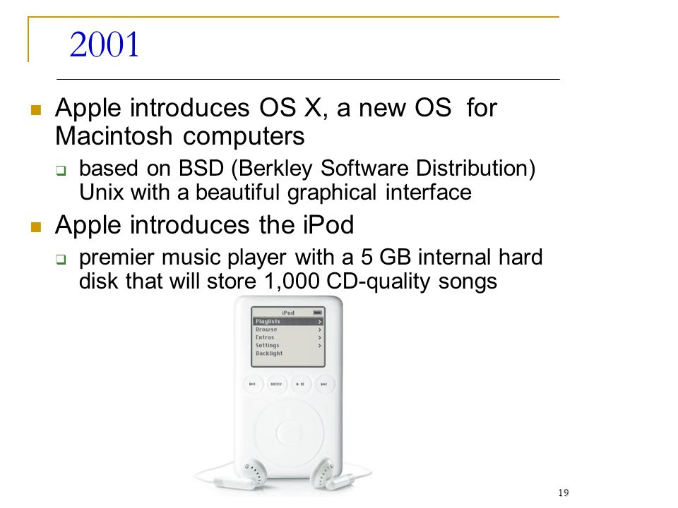 2001 Apple introduces OS X, a new OS for Macintosh computers based on BSD (Berkley Software Distribution) Unix with a beautiful graphical interface Ap