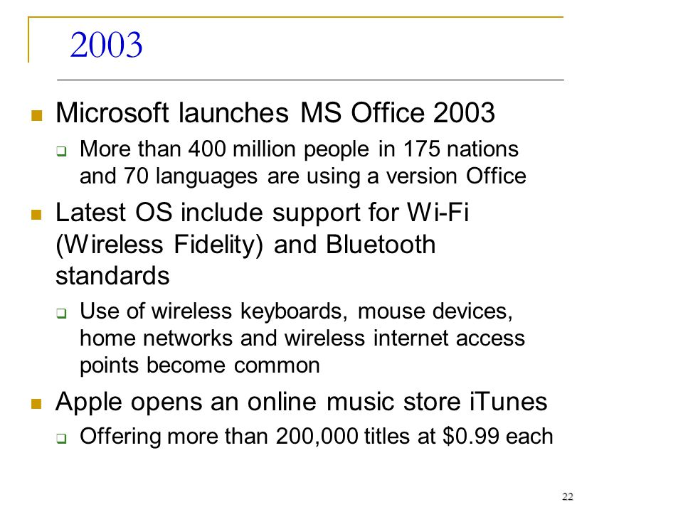 2003 Microsoft launches MS Office 2003 More than 400 million people in 175 nations and 70 languages are using a version Office Latest OS include suppo