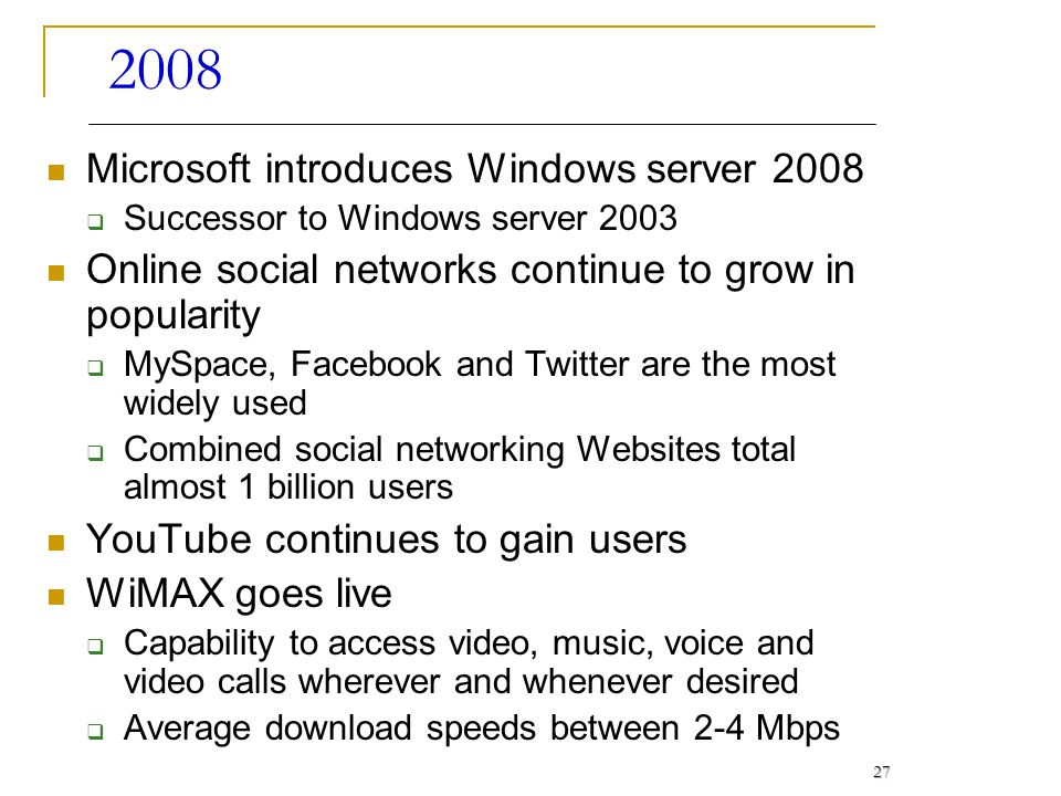 2008 Microsoft introduces Windows server 2008 Successor to Windows server 2003 Online social networks continue to grow in popularity MySpace, Facebook