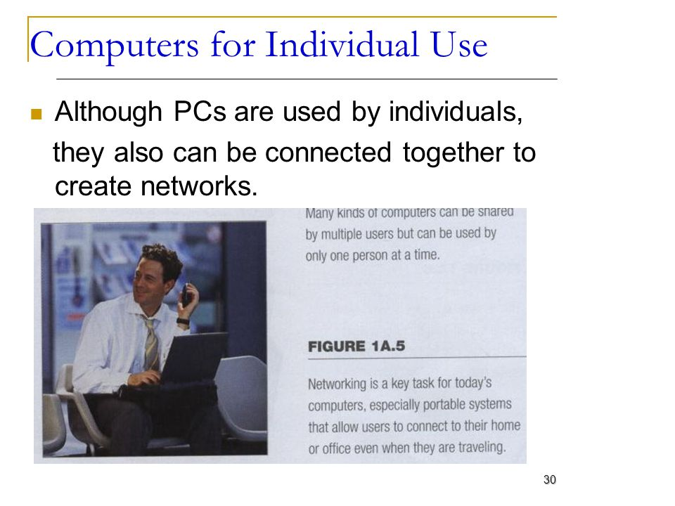 Computers for Individual Use Although PCs are used by individuals, they also can be connected together to create networks. 30