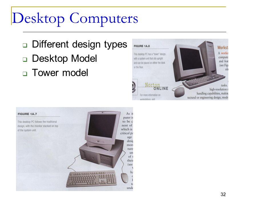 Desktop Computers Different design types Desktop Model Tower model 32