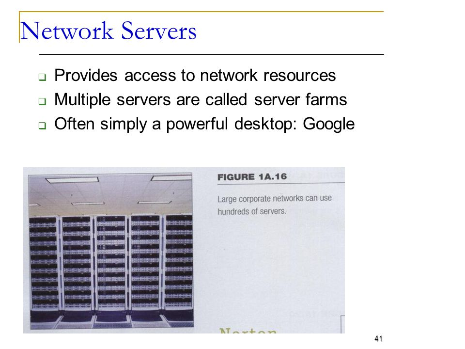 Network Servers Provides access to network resources Multiple servers are called server farms Often simply a powerful desktop: Google 41