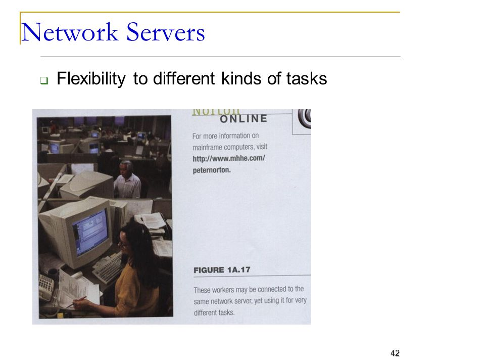 Network Servers Flexibility to different kinds of tasks 42 Computers for Organizations