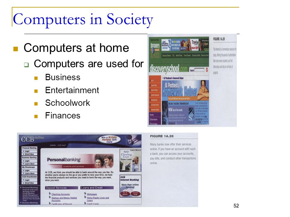 Computers in Society Computers at home Computers are used for Business Entertainment Schoolwork Finances 52