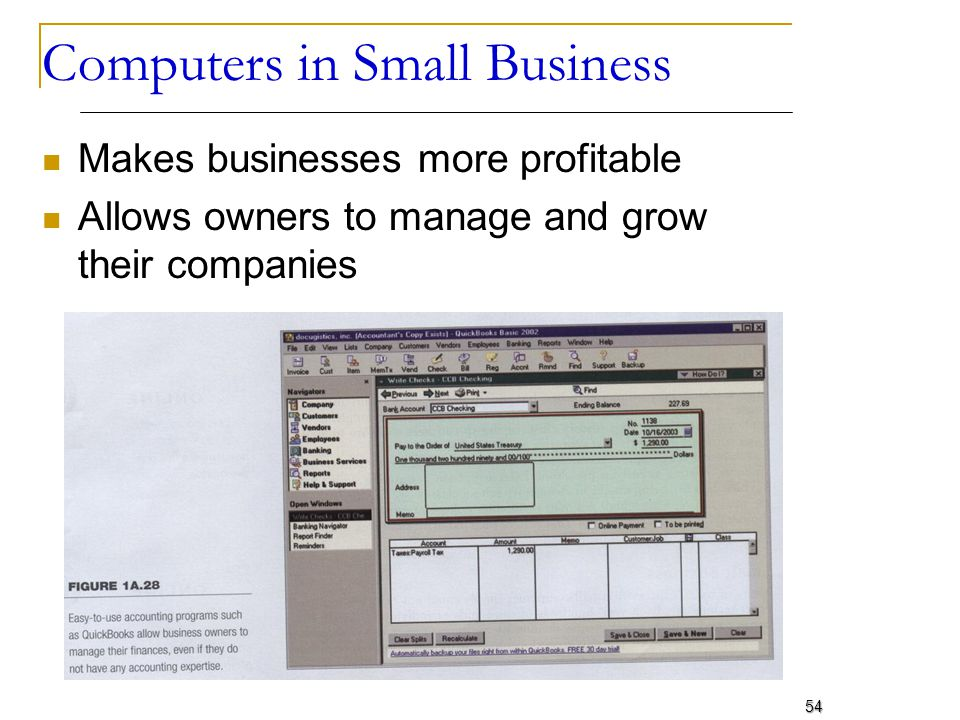 Computers in Small Business Makes businesses more profitable Allows owners to manage and grow their companies 54