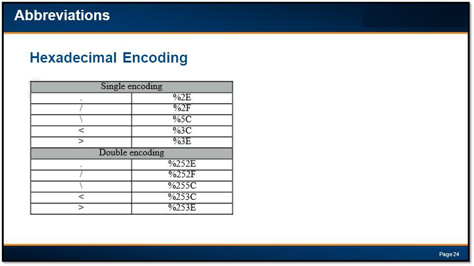 Hexadecimal Encoding Abbreviations Page 24