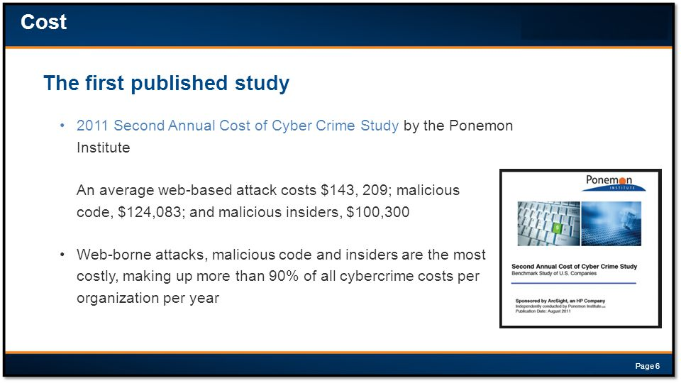 2011 Second Annual Cost of Cyber Crime Study by the Ponemon Institute An average web-based attack costs $143, 209; malicious code, $124,083; and malicious insiders, $100,300 Web-borne attacks, malicious code and insiders are the most costly, making up more than 90% of all cybercrime costs per organization per year The first published study Cost Page 6