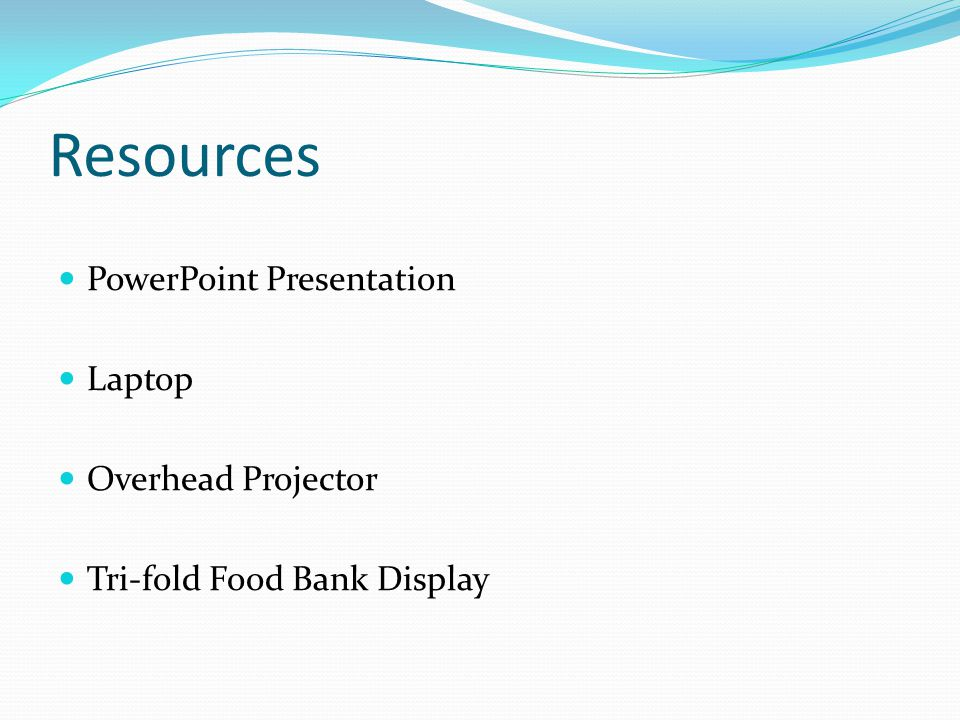 Resources PowerPoint Presentation Laptop Overhead Projector Tri-fold Food Bank Display