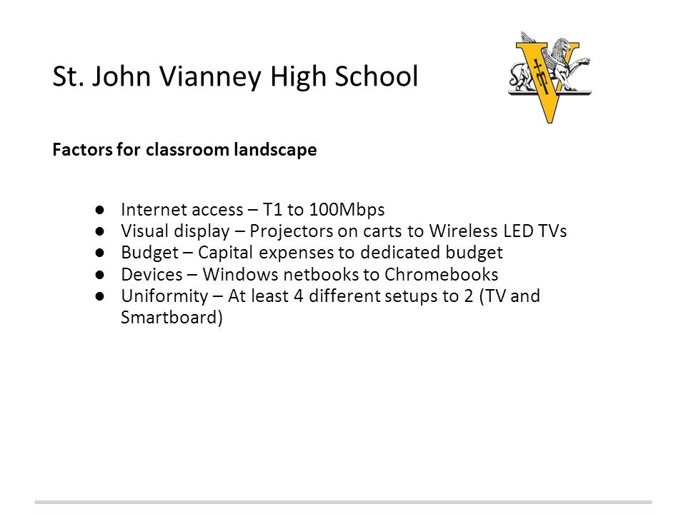 St. John Vianney High School Factors for classroom landscape Internet access – T1 to 100Mbps Visual display – Projectors on carts to Wireless LED TVs
