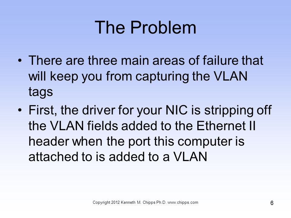 NICs That Do Not Work –Intel says this NIC should work after the registry value is added –In this case MonitorMode as this is a PCI Express card –On these types of cards there are three possible values 0, 1, and 2 –None of these values work Copyright 2012 Kenneth M.