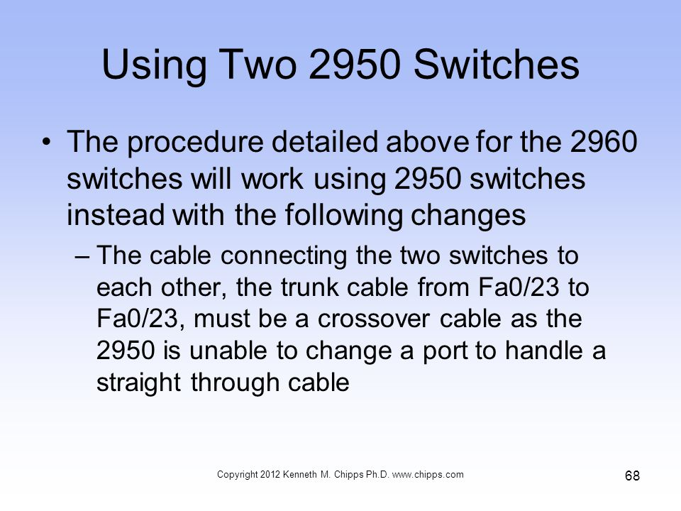 Using Two 2950 Switches The procedure detailed above for the 2960 switches will work using 2950 switches instead with the following changes –The cable connecting the two switches to each other, the trunk cable from Fa0/23 to Fa0/23, must be a crossover cable as the 2950 is unable to change a port to handle a straight through cable Copyright 2012 Kenneth M.
