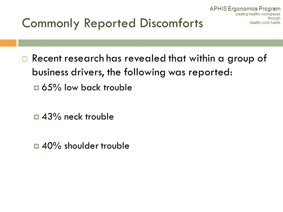 Commonly Reported Discomforts Recent research has revealed that within a group of business drivers, the following was reported: 65% low back trouble 4