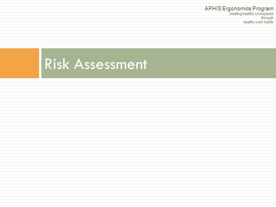 Risk Assessment APHIS Ergonomics Program creating healthy workspaces through healthy work habits