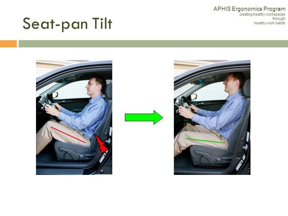 Seat-pan Tilt APHIS Ergonomics Program creating healthy workspaces through healthy work habits