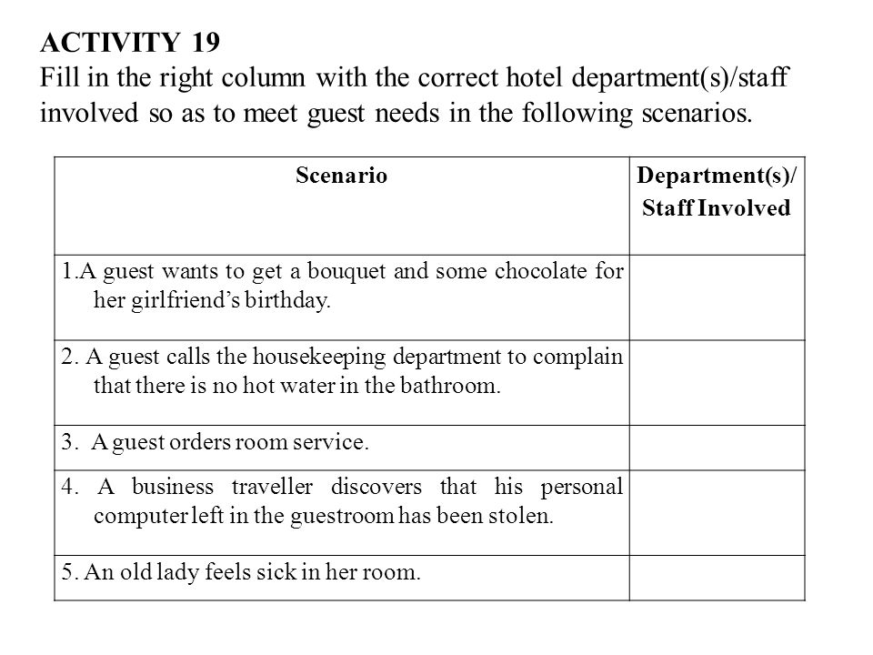ACTIVITY 19 Fill in the right column with the correct hotel department(s)/staff involved so as to meet guest needs in the following scenarios.
