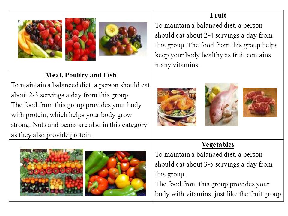 Fruit To maintain a balanced diet, a person should eat about 2-4 servings a day from this group.