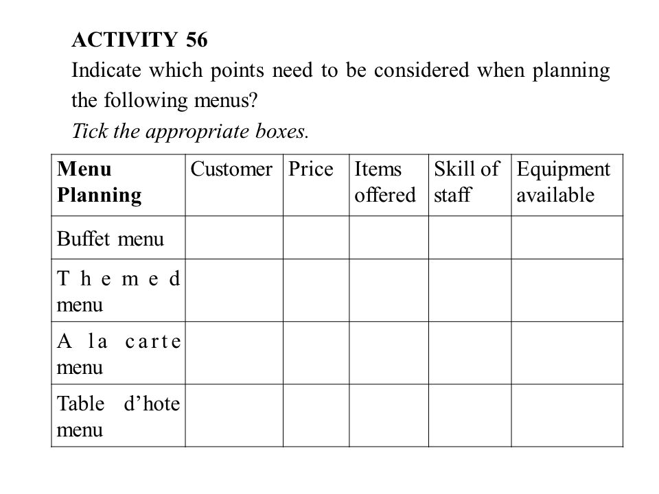 ACTIVITY 56 Indicate which points need to be considered when planning the following menus.