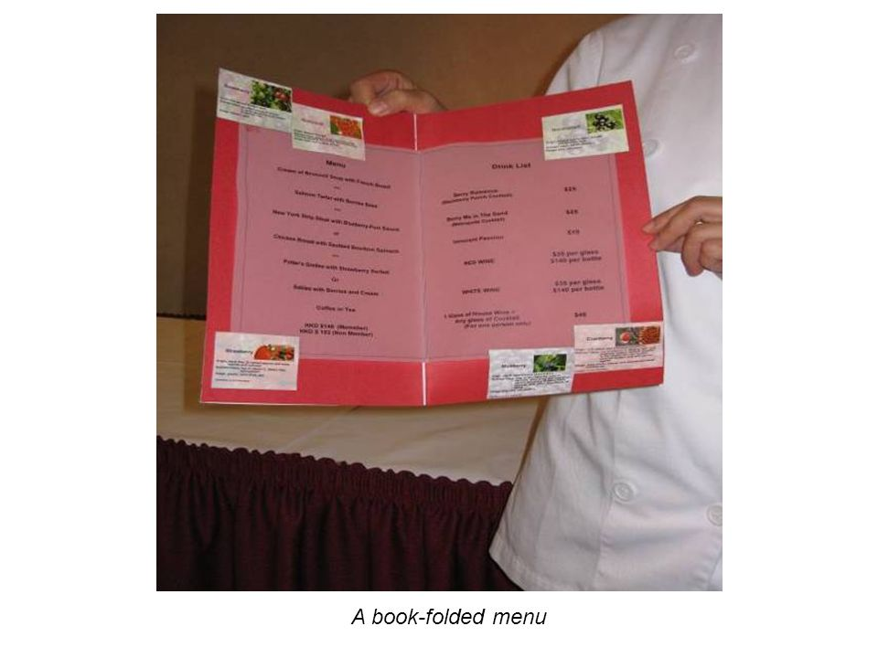 A book-folded menu