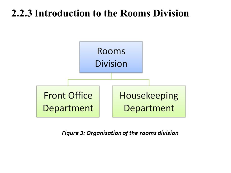2.2.3 Introduction to the Rooms Division Figure 3: Organisation of the rooms division
