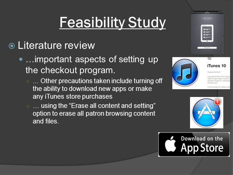 Feasibility Study Literature review …important aspects of setting up the checkout program.