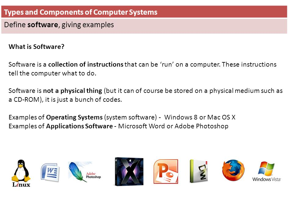 Types and Components of Computer Systems Define software, giving examples What is Software? Software is a collection of instructions that can be run o