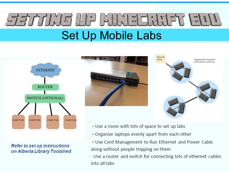 Set Up Mobile Labs - Use a room with lots of space to set up labs - Organize laptops evenly apart from each other - Use Cord Management to Run Ethernet and Power Cable along without people tripping on them - Use a router and switch for connecting lots of ethernet cables into all labs Refer to set up instructions on Alberta Library Toolshed
