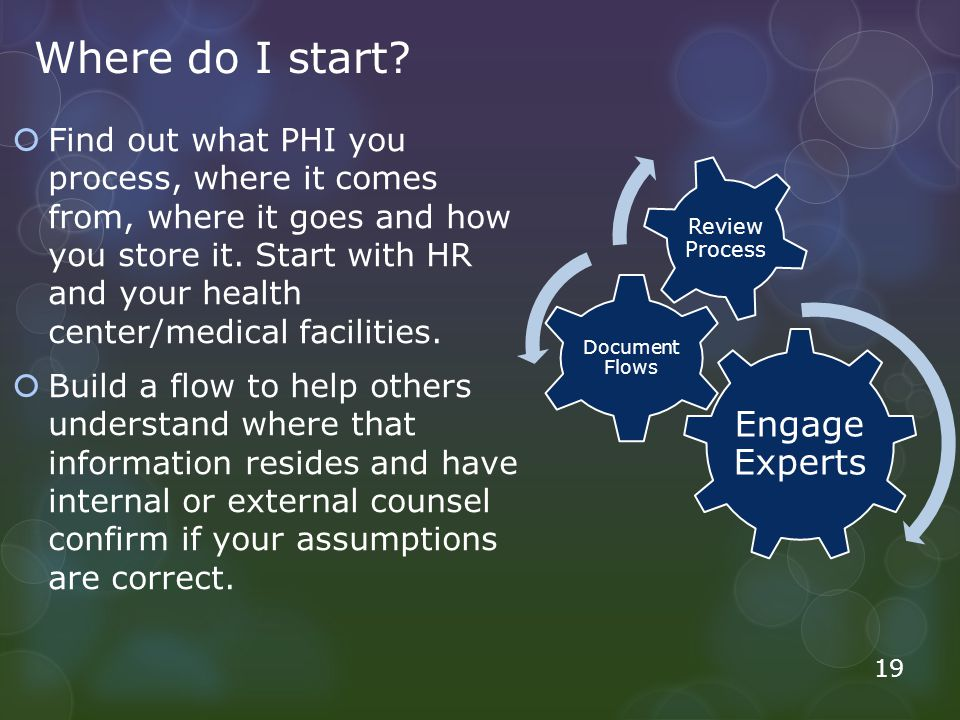 Where do I start? Find out what PHI you process, where it comes from, where it goes and how you store it. Start with HR and your health center/medical