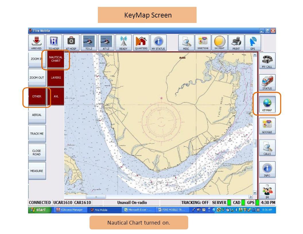 KeyMap Screen Nautical Chart turned on.