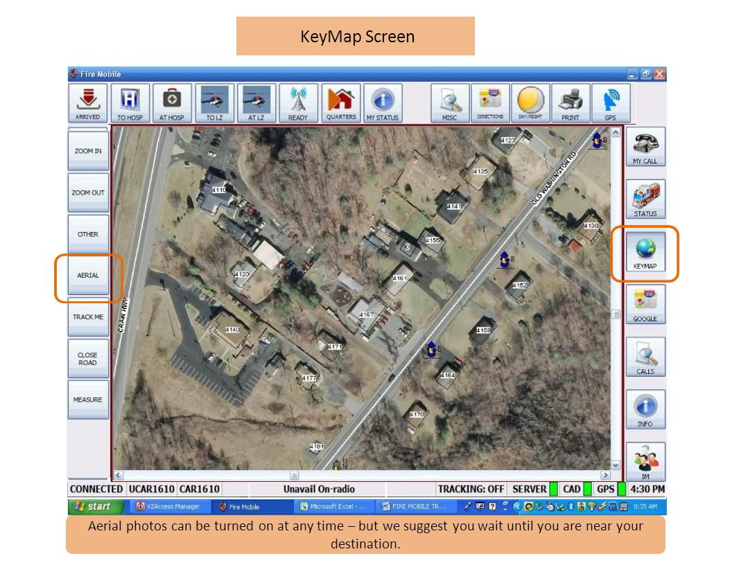 KeyMap Screen Aerial photos can be turned on at any time – but we suggest you wait until you are near your destination.