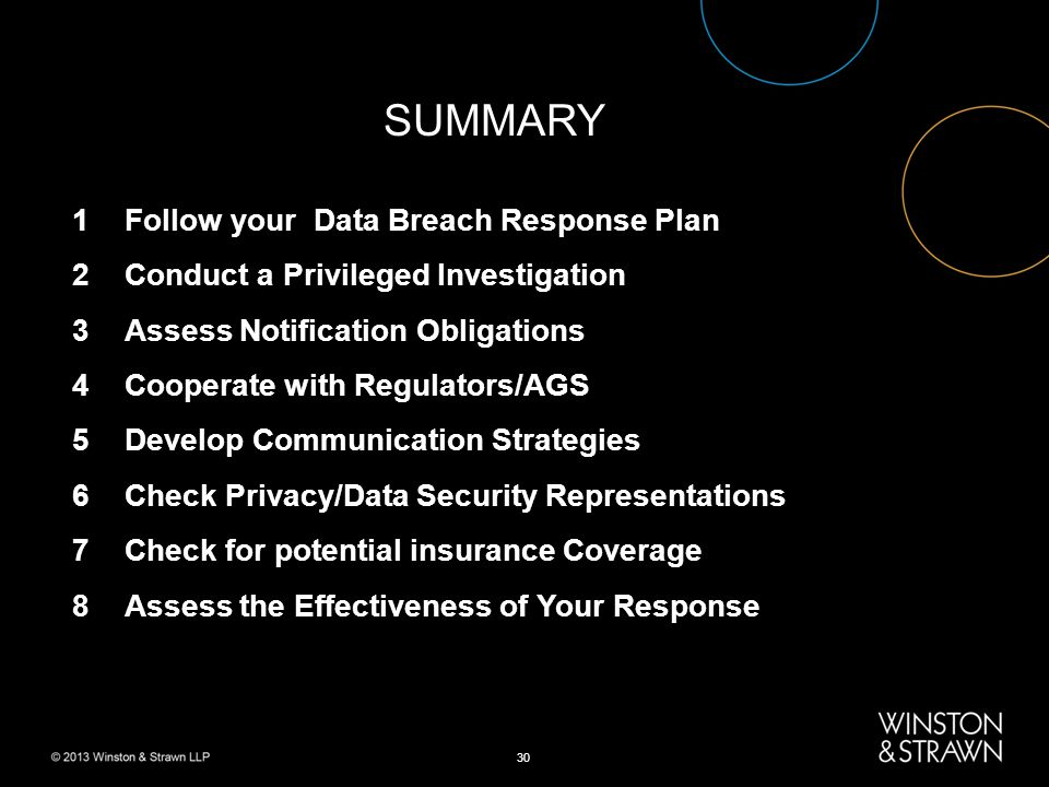 30 SUMMARY 1Follow your Data Breach Response Plan 2Conduct a Privileged Investigation 3Assess Notification Obligations 4Cooperate with Regulators/AGS