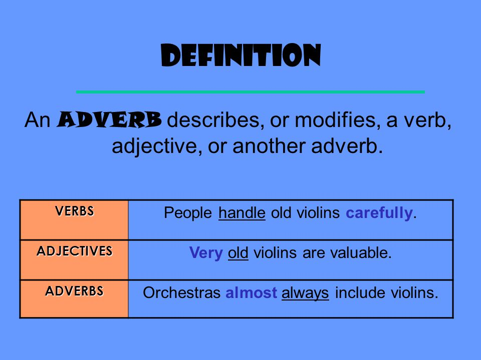 Semester one exam review Adverbs