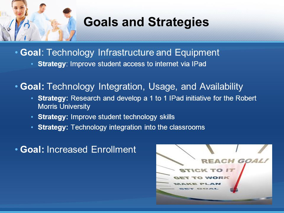 Goals and Strategies Goal: Technology Infrastructure and Equipment Strategy: Improve student access to internet via IPad Goal: Technology Integration,