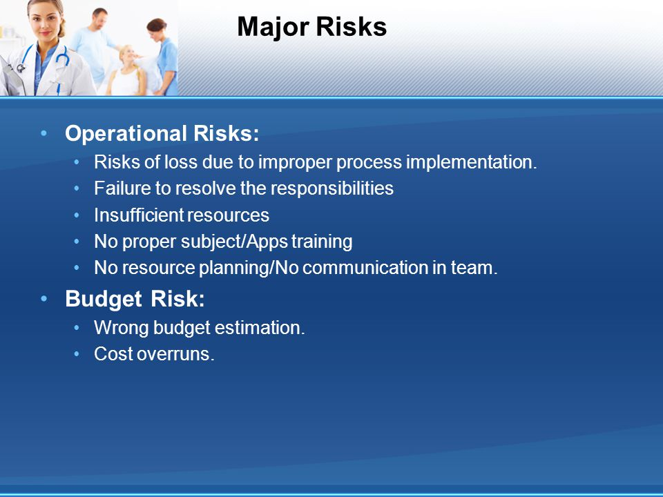Major Risks Operational Risks: Risks of loss due to improper process implementation.