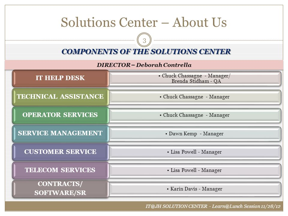 Solutions Center – About Us IT@JH SOLUTION CENTER - Learn@Lunch Session 11/28/12 COMPONENTS OF THE SOLUTIONS CENTER Chuck Chassagne - Manager/ Brenda