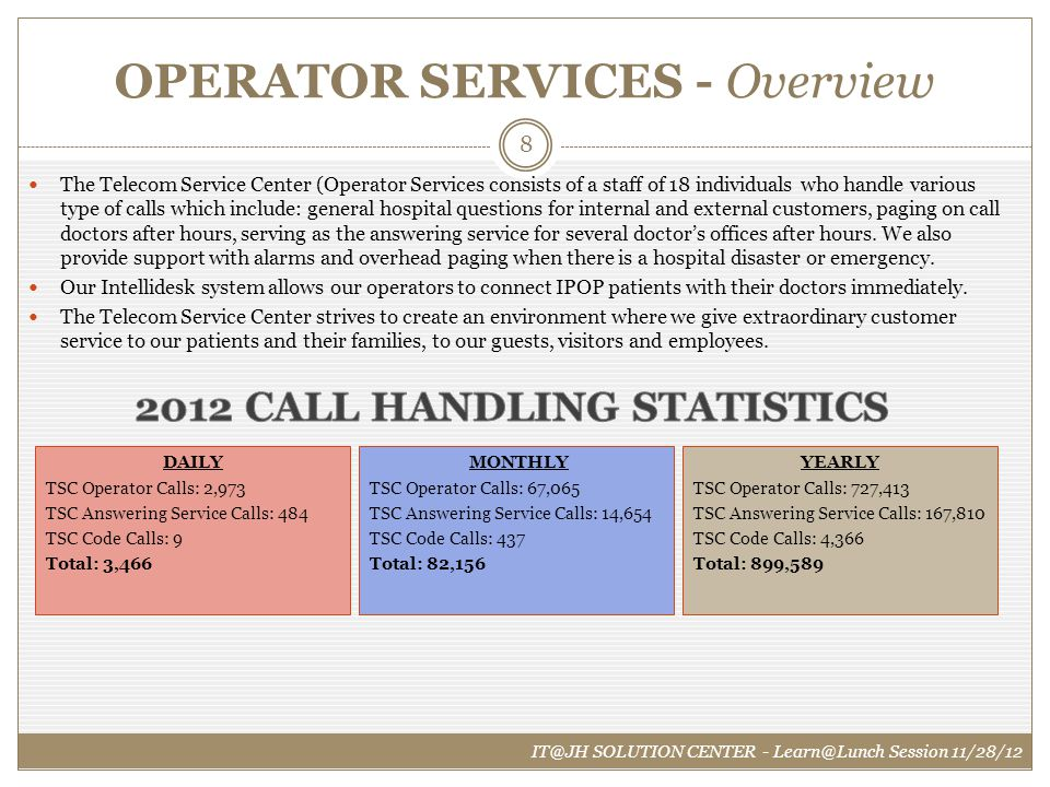 OPERATOR SERVICES - Overview The Telecom Service Center (Operator Services consists of a staff of 18 individuals who handle various type of calls whic