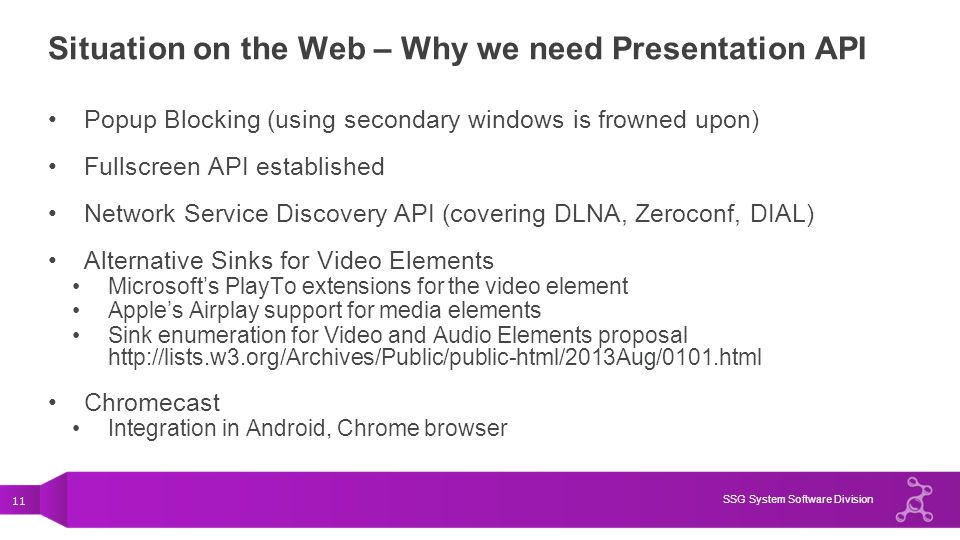 11 SSG System Software Division Situation on the Web – Why we need Presentation API Popup Blocking (using secondary windows is frowned upon) Fullscree