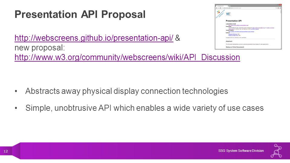 12 SSG System Software Division Presentation API Proposal http://webscreens.github.io/presentation-api/http://webscreens.github.io/presentation-api/ &