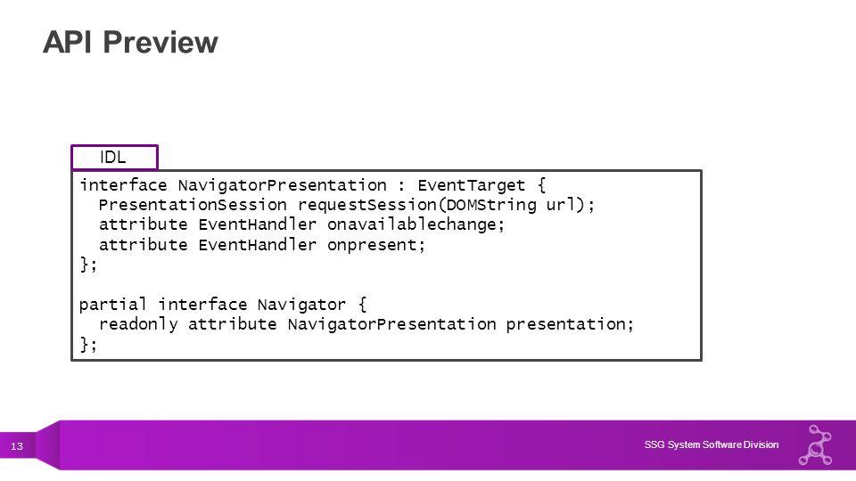 13 SSG System Software Division API Preview interface NavigatorPresentation : EventTarget { PresentationSession requestSession(DOMString url); attribu