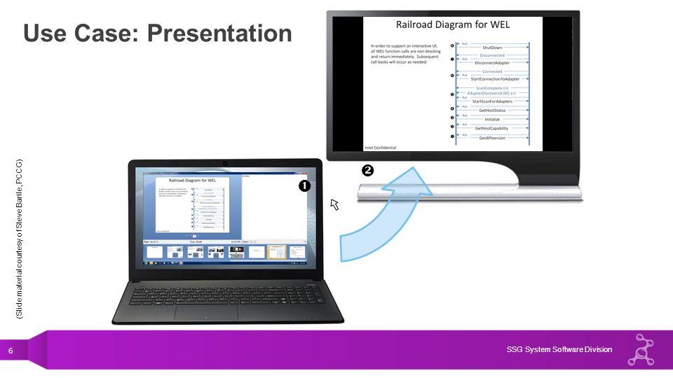 6 SSG System Software Division Use Case: Presentation (Slide material courtesy of Steve Barile, PCCG)