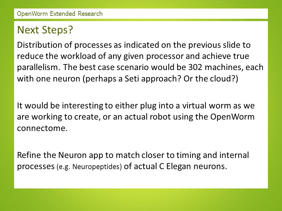 OpenWorm Extended Research Next Steps? Distribution of processes as indicated on the previous slide to reduce the workload of any given processor and