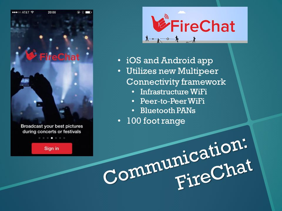 Communication: FireChat iOS and Android app Utilizes new Multipeer Connectivity framework Infrastructure WiFi Peer-to-Peer WiFi Bluetooth PANs 100 foot range