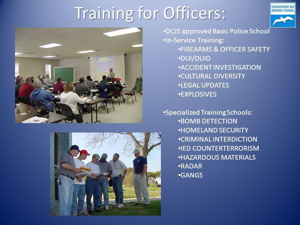 Training for Officers: DCJS approved Basic Police School In-Service Training: FIREARMS & OFFICER SAFETY DUI/DUID ACCIDENT INVESTIGATION CULTURAL DIVERSITY LEGAL UPDATES EXPLOSIVES Specialized Training Schools: BOMB DETECTION HOMELAND SECURITY CRIMINAL INTERDICTION IED COUNTERTERRORISM HAZARDOUS MATERIALS RADAR GANGS