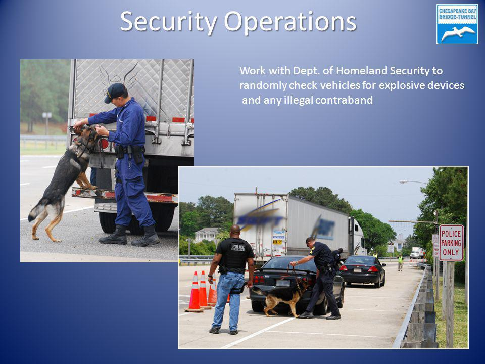 Security Operations Work with Dept. of Homeland Security to randomly check vehicles for explosive devices and any illegal contraband